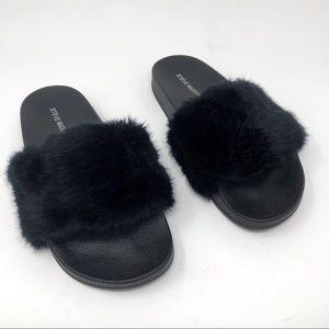 Steve Madden Softey Faux Fur Slides